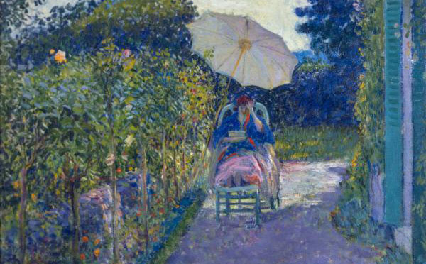 painting of woman seated in garden